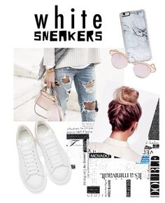 """""""white sneakers"""" by suicidegirlx ❤ liked on Polyvore featuring Alexander McQueen, Zero Gravity and Le Specs"""