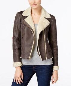 Lucky Brand Faux-Shearling Bomber Jacket