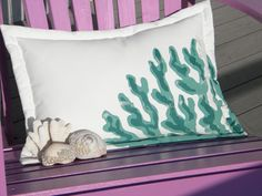 Turquoise and forest green coral lumbar pillow 15x20 ocean coastal beach SCUBA indoor outdoor deck sailing patio garden Firstfridayartwalk. 38.00, via Etsy.