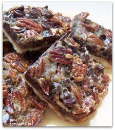 Chocolate Pecan Pie Bars. Need to try. {eggs, corn syrup, unsalted butter}