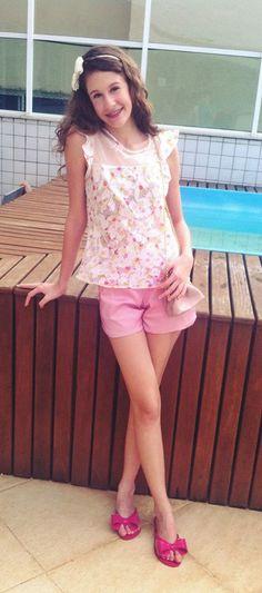 Blusa Gardenia R$37,00 + Shorts Margarida Rosa R$35,00 www.pequenasdivas.com.br