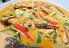 Thai Coconut Curry Chicken Soup - Keto and Low Carb Classic Thai chicken soup flavored coconut, shiitake mushrooms and a spicy kick from red curry! Coconut Curry Chicken Soup, Yellow Curry Chicken, Coconut Curry Soup, Seafood Curry Recipe, Curry Recipes, Vegetarian Recipes, Healthy Recipes, Low Carb Curry, Keto Curry