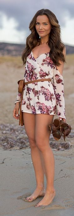 Floral Print Romper...but more importantly, I want that leather waist bag!