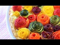 Zucchini and carrots roses tart recipe - YouTube - It's sooooo pretty!