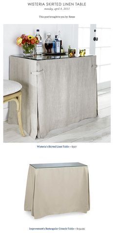 COPY CAT CHIC FIND: Wisteria's Skirted Linen Table VS Improvement's Rectangular Console Table
