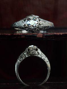 1910-20s Edwardian 0.61ct Old Mine Cut Diamond Ring (E-F/SI1), Platinum, $ 2850