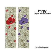 Poppy Design  Peyote Bracelet Pattern  INSTANT DOWNLOAD by lariata