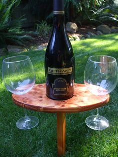 Portable Outdoor Wine Table And Glass Holder - Stained Gunstock