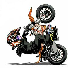 Motorcycle Artwork by scaronistefano Motorcycle Posters, Motorcycle Art, Bike Art, Motocross Ktm, Stunt Bike, Caricature, Gp Moto, Bike Drawing, Motos Honda
