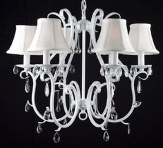 WHITE WROUGHT IRON CRYSTAL CHANDELIER SHADES COUNTRY FRENCH TOLE CEILING FIXTURE   eBay