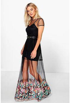 d34b3bbd9694 Boutique Kiko Embroidered Hem Mesh Maxi Dress Šaty Na Školní Ples