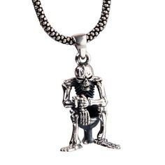 Smoking Skeleton Necklace Sitting on Toilet Pendant Guys Jewelry (w/ SILVER CHAIN)