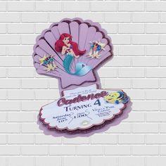 The Little Mermaid Premium Invitation Handmade and Custom Design. Made with Glitter Cardstock, Textured Cardstock, Premium Cardstock by Inkspireve on Etsy