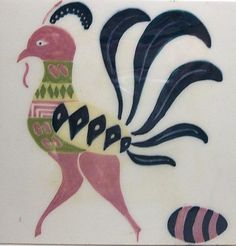 """Vintage Art Tile Trivet ROOSTER Chicken EGG 6"""""""