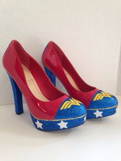 WW Comic Heels Custom made to order by DeathStarDoll on Etsy