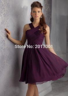 4dbce4797146 Pas cher 2016 mode une ligne parti robes de mariée pas cher violet foncé  croix plissée