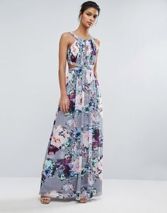 Little Mistress Printed Maxi Dress With Cut Outs in lilac at Asos