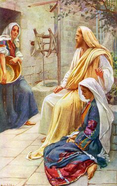 Jesus at the home of Martha and Mary by Harold Copping