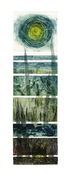 """Sue Lowe 'Somerset Levels' hand printed collagraph with chine colle/ Especially relevant to steel plate etching WIP re the """"colle"""" element connecting the plates in my case) Collagraph Printmaking, Printmaking Ideas, Abstract Landscape, Abstract Art, Tinta China, Mix Media, Textile Art, Collages, Illustration Art"""