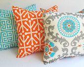 "Throw pillow covers set of three 20"" x 20"" cushion covers Orange Natural Aqua Blue Gray pillows orange pillows. $57.00, via Etsy."