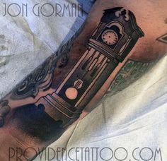 by jon gorman at providence tattoo  #Jongorman #providencetattoo #grandfatherclock #tattoo #blackwork