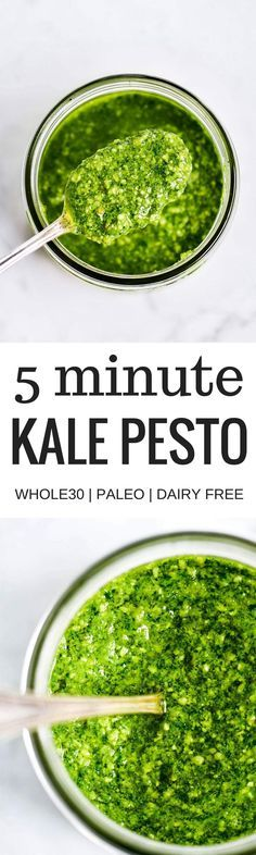 5 Minute Vegan Kale Pesto - made with pine nuts, olive oil, kale, parsley, garlic, salt, and lemon juice. So easy and extremely versatile for pizzas, salads, pasta, and breads! Less than 99 calories per serving. Easy whole30 pesto. paleo pesto recipe. Dairy free pesto. Best dairy free pesto recipe. Best whole30 pesto recipe.