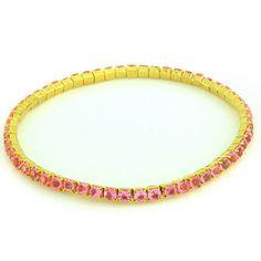 qvc Rare Pink Rhinestone Gold Plated Stretch Line Bracelet 649B #qvc #Stretch