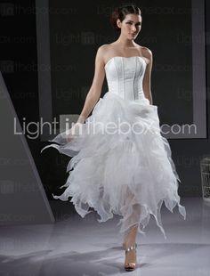 a line asymmetrical strapless tea length wedding dresses