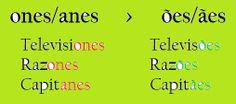 Diferenças espanhol/português: ONES/ANES - ÕES/ÃES