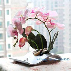 Arrangement floral ikebana disposé artificielle Papillon Orchidée Papillon Fleur De soie comprend vase Décoration de La Maison FV25