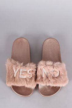 0d95aadf74b Embroidered Yes No Faux Fur Slide Sandal