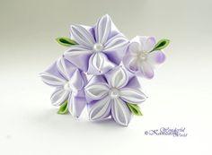 Tsumami Kanzashi Blume Haar Kamm Braut Brautjungfer Blumenmädchen Hochzeit Haar Zubehör Lavendel Hochzeit Licht lila und weiß