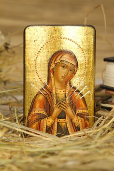 Theotokos of the Seven Arrows - orthodox religious gift for dad mom sister husband friend parents godparents grandparent family. , via Etsy. Religious Images, Religious Gifts, Religious Icons, Religious Art, Madonna, Greek Icons, Our Lady Of Sorrows, Religion, Images Of Mary
