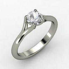 Round White Sapphire Palladium Ring