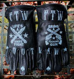 Mens Leather Riding Glove w//Flex Knuckles Reflective Trim Medium
