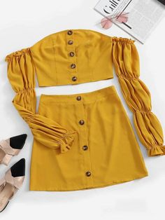 Shop Off Shoulder Gathered Sleeve Crop Top & Skirt Set online. SHEIN offers Off Shoulder Gathered Sleeve Crop Top & Skirt Set & more to fit your fashionable needs. Crop Top Outfits, Trendy Outfits, Summer Outfits, Cute Outfits, Prom Outfits, Teen Fashion, Fashion News, Fashion Outfits, Woman Fashion