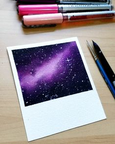 Purple galaxy art Simple galaxy using watercolor markers . - Purple galaxy art Simple galaxy using watercolor markers # Indoor plants drawing - Watercolor Galaxy, Galaxy Painting, Galaxy Art, Watercolor Art, Diy Galaxy, How To Paint Galaxy, Simple Watercolor Paintings, Galaxy Crafts, Purple Painting