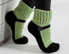 Knit Slipper Socks Adult Mary Jane Slippers Sox Green House Slippers Womens Slippers Home Slippers Black House Shoes Gifts Under 40 Knitted Slippers, Slipper Socks, Crochet Slippers, Bootie Socks, Knitted Washcloths, Best Slippers, Womens Slippers, Knitting Socks, Black House
