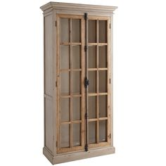 """Originating in 19th century Europe, the """"Cremone bolt"""" is a traditional casement-window locking device with a latch/handle mechanism. Featured on all our hand-hewn Cremone cabinetry, it's as beautiful as it is functional. Also featured: Soft gray wood frames with protracted crown molding, contrasting natural wood casements and tempered pane-glass windows. Tall cabinet houses four adjustable shelves."""