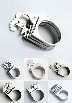 Stackable rings by Juana Rodriguez - THESE ARE CUTE BUT THEY ARE TALL AND WOULD PROBABLY GET CAUGHT ON SOMETHING...