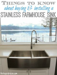 Things to Know about Buying & Installing a Stainless Steel Farmhouse Style Sink - The Happy Housie Stainless Steel Farmhouse Sink, Copper Farmhouse Sinks, Farmhouse Sink Kitchen, New Kitchen, Kitchen Sinks, Kitchen Sink Inspiration, Home Kitchens, Kitchen Remodel, Kitchen Design