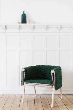 "Strik is a snuggly armchair, that consists of a frame made of ash tree and a knitted upholstery made of wool - a wooden ""body"" wearing a knitted ""sweater"". The upholstery is reversible and can also be used as a blanket."