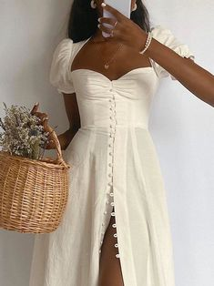 Cute Casual Outfits, Pretty Outfits, Pretty Dresses, Beautiful Dresses, Short Elegant Dresses, Elegant Summer Outfits, Stylish Outfits, Casual Dresses, Styles Of Dresses