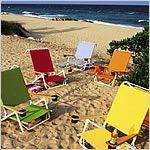 Telescope folding beach chairs and chaises are easy to store and made from the highest quality outdoor fabrics and straps.  http://www.patiostore.com/backyard/beach-and-folding-chairs-telescope-folding-beach-chairs-chaise-c-386_676.html