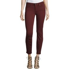 Paige Denim Verdugo Skinny Ankle Jeans ($200) ❤ liked on Polyvore featuring jeans, deep syrah, skinny fit jeans, cropped jeans, ankle zipper skinny jeans, skinny leg jeans and button-fly jeans