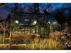 A green aluminium Hartley Botanic greenhouse at night #Hartley #Greenhouse #Glasshouse #Aluminium #Green #Gardening #Garden #GrowYourOwn