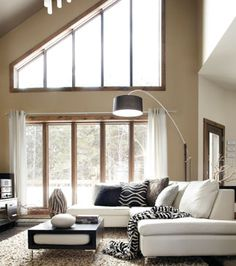 Love this living room, the windows...high high ceiling