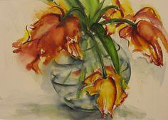 Papegaai tulpen, aquarel