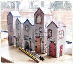 Handmade by Picto: Small wooden houses - creative ideas - # wooden . - Handmade by Picto: Small wooden houses – creative ideas – work # Wooden houses # - Wood Block Crafts, Wood Blocks, Wood Projects, Wooden Art, Wooden Crafts, Small Wooden House, Wooden Houses, Diy Arts And Crafts, Home Crafts