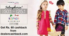 Flat 50% + extra 25% off on kids wear at fashionandyou-com + Rs. 60 cashback from dealsncashback.com http://www.dealsncashback.com/merchants/fashionandyou
